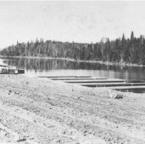 Image of Canoe Lake, infront of the Portage Store.