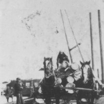 Image of 1931 - Horses and sleigh load of logs.