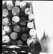 Image of 2479 - McRae Lumber Co. railway flatcar loaded with logs.