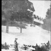Image of Cutting ice a the Highland Inn, Cache Lake.