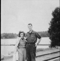 Image of 1976.2.2 - Mr. & Mrs. John B. Dods at Cache Lake landing.