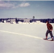 Image of 3160 - Pulling a toboggan on Cache Lake.