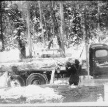 Image of 3253 - Jammer loading hardwood logs on a truck