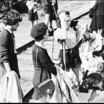 Image of 3318 - Camp Tanamakoon girls waiting for the train at Algonquin Park Station