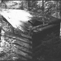 Image of 1976 - Dan Strickland viewing outhouse at Kitty Lake ranger cabin