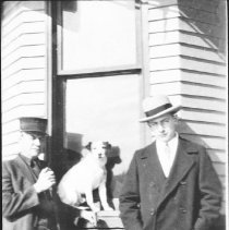 Image of 3615 - Albert and John Needham standing in front of the Algonquin Park Station