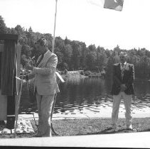 Image of 3764 - B. Napier Simpson, Mr. Balding, and J.A. Simpson at the Unveiling of Tom Thomson's Plaque