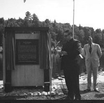 Image of 3765 - Father Afelskie Reading the Dedication Prayer of the Unveiling of Tom Thomson's Plaque