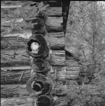 Image of 3828 - Detailed View of the Log Construction at the Nominigan Lodge