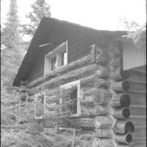 Image of 3829 - Detailed View of the Log Construction at the Nominigan Lodge