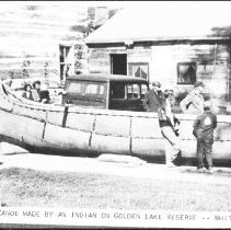 "Image of 4016 - Postcard - ""A Large Canoe Made By An Indian On Golden Lake Reserve"""