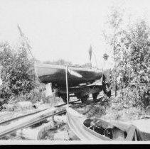 Image of 4308 - Peterborough inboard motor canoe on portage railway