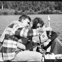 Image of 4385 - Lake survey crew measuring the dissolved oxygen content at various depths, 1977.
