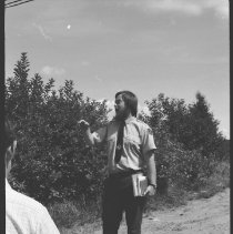 Image of 4469 - Park naturalist, Rory MacKay, leading a history hike at Cache Lake
