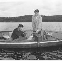 Image of July 1955 - Taking sample of water with Juday Plankton trap, Alg. Pk.