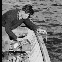 Image of June 1955 - Operating thermistor (electrical thermometer), Opeongo fish lab.