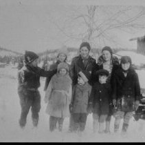 """Image of 4853 - """"Me (Mary Colson - tallest - centre) and the gang."""" Canoe Lake School S.S. No.1, Peck Twp"""