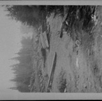 Image of 4879 - A dynamite blast, during highway construction, between Cache lake and Cranberry (Canisbay) Creek