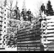 Image of 1934 - Highway construction workers at the Smoke Creek bridge