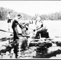 Image of 4914 - Highway construction workers building a diving board at Lost (Found) Lake.