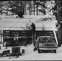 Image of 1978 - Putting a new roof on the Kitty Lake cabin
