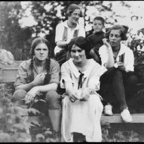 Image of 5076 - Youth; L. - R. - Front Betty Earle, Helen Colson, Elsie Robinson.  Back Ottelyn Robinson (now Addison), Mark Jr.