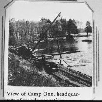 Image of 5110 - View of Camp One, headquarters of Staniforth's woods operations, Kioshkokwi Lake