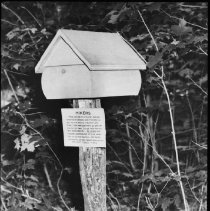 Image of c. 1951 - Visitor register and sign on the Deer Lake Nature Trail, c. 1951.