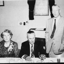 Image of 5534 - Mr. Frank MacDougall, Deputy Minister, Lands & Forests, speaking at the retirement dinner for George Phillips, Huntsville, Sept. 26, 1959.