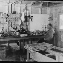 Image of 5553 - Dr. Scott at the fish lab., Opeongo Lake, 1943.