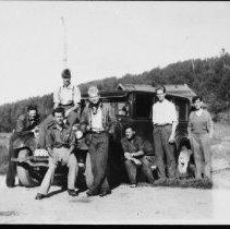 Image of 5557 - Fish lab. staff at Costello Lake, 1937.