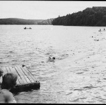 "Image of 5560 - Junior Ranger camp at Kiosk, 1979. Canoeing and swimming skills are a ""must"" especially for crews who maintain canoe routes in Algonquin Park."