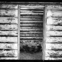 """Image of 5663 - Log shanty at Achray, built for the N.F.B. film """"The Winter My Mother Died"""", 1980."""