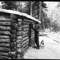 "Image of 5668 - Log shanty at Achray, built for the N.F.B. film ""The Winter My Mother Died"", 1980."