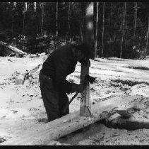 """Image of 5670 - Log shanty at Achray, built for the N.F.B. film """"The Winter My Mother Died"""", 1980."""