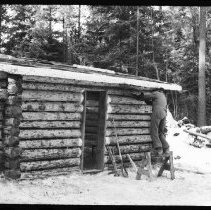 """Image of 5672 - Log shanty at Achray, built for the N.F.B. film """"The Winter My Mother Died"""", 1980."""
