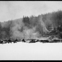 Image of 5813 - burning lumber camp at Misty Lake