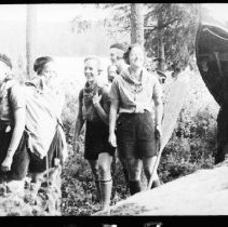 Image of 5832 - girls from Camp Tanamakoon on portage trail