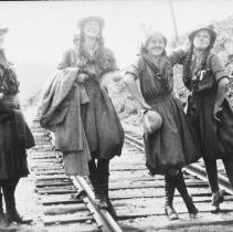 Image of 1918 - Camp Northway girls standing on railroad track