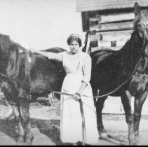 Image of Annie McDonald with a team of 5-year old horses