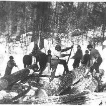 Image of 1871 - Loading Logs on a Sleigh from a Rollway