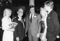 Image of Robert List, Frank Scott, and others at the Mizpah Hotel and Casino Grand Opening - ca. January, 1980