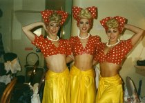 Image of Female performers with the Folies Bergere stage show - ca. 1990s
