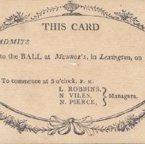 Image of Admittance Card for Ball at Munroe's - 2479