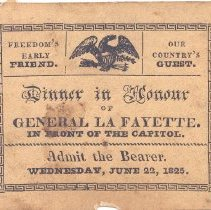 Image of Admittance Card for Dinner in Honor of General Lafayette on June 22, 1825 - 473