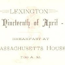 Image of Admittance Card for Breakfast at Massachusetts House on April 19, 1888 - 2016.034