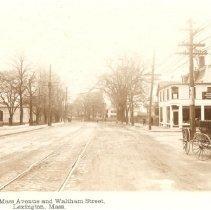 Image of Postcard of the Corner of Massachusetts Avenue and Waltham Street - 8643