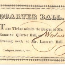Image of Admittance Card for Quarter Ball on March 12, 1819 - 13116-1-1