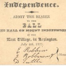 Image of Admittance Card for Mount Independence Ball on July 4, 1825 - 13116-1-2