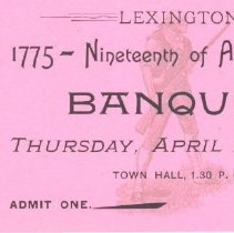 Image of Banquet Ticket for April 19, 1894 - 13116-15